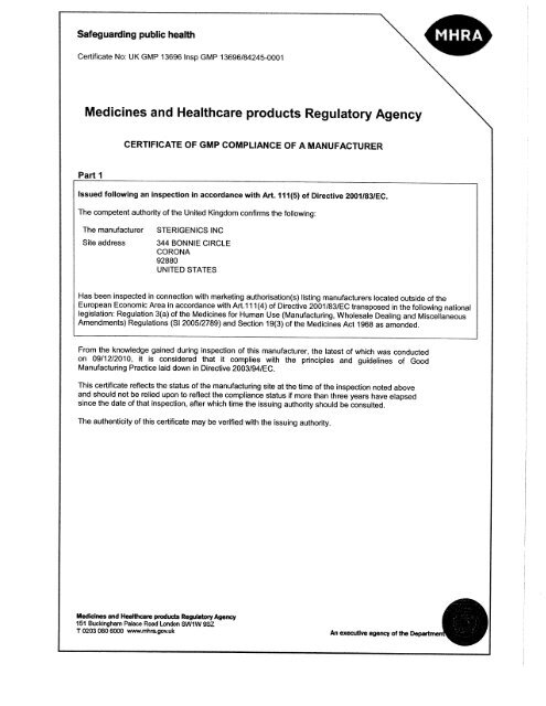 Usa Mhra Gmp Certificate From U K Corona Sterigenics