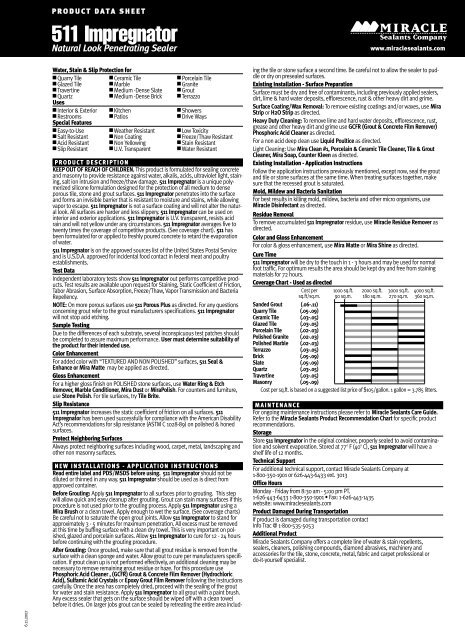 This is very important on polished glazed and porcelain surfaces. 511 Impregnator Msds Pdf Northland Construction Supplies