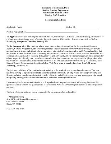 uc letter of recommendation