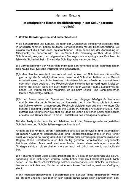 Hermann Brezing Ist Erfolgreiche Rechtschreibforderung In Der