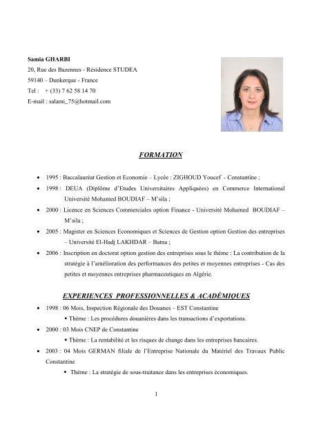 Gharbi Samia Cv Actualisa C Laboratoire Rii