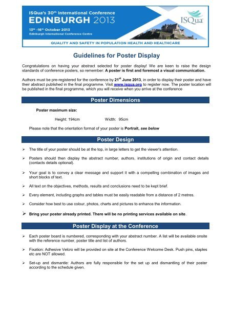 poster display isqua