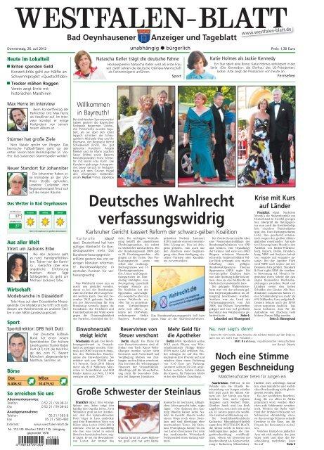 Bad Oeynhausen Westfalen Blatt Ezeitung Ihre Lokalausgaben