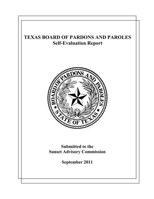 Texas Board Of Pardons And Paroles Self Evaluation Report