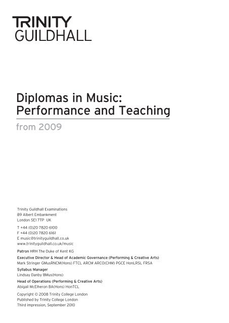 Performance And Teaching Trinity College London