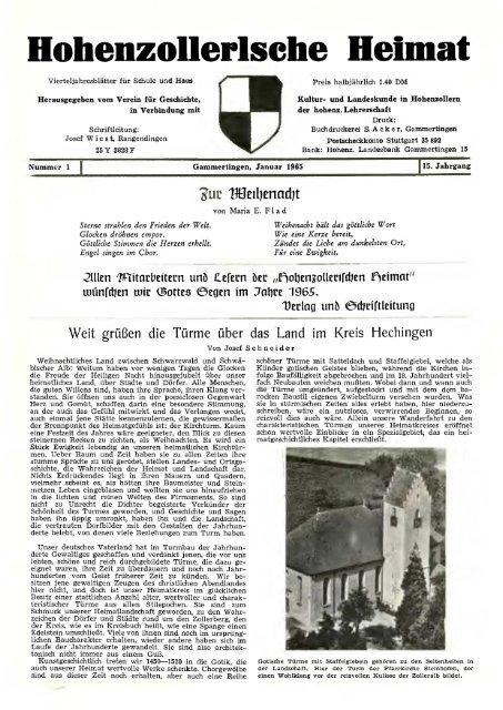 Hohenzollertsehe Heimat Hohenzollerischer Geschichtsverein Ev
