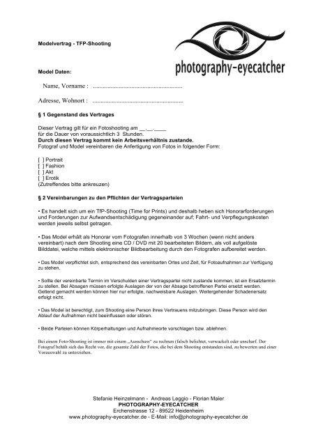 Fotografie Vertrag Vorlagen Fur Fotografen Sofort Download Etsy