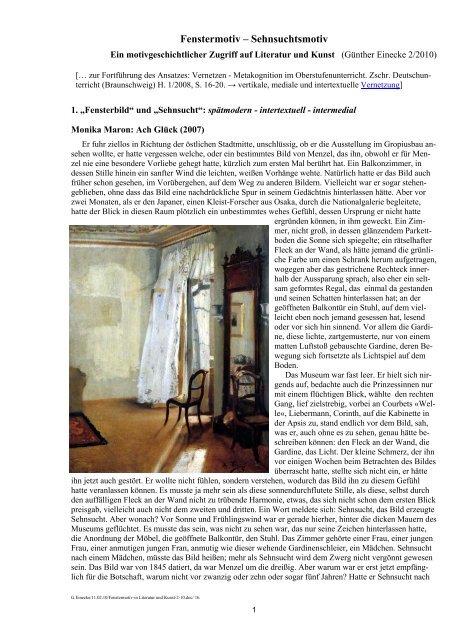 Fenstermotiv Sehnsuchtsmotiv Online Didaktik Deutsch