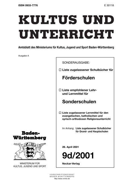 Schulbuch Sos 2001 Vorschriftendienst Baden Wurttemberg