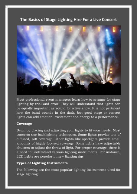 stage lighting hire for a live concert