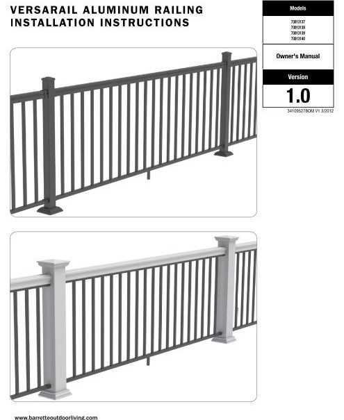 Versarail Aluminum Railing Installation Instructions Barrette | Outdoor Stair Railing Installers Near Me | Transitional Handrail | Cable Railing | Glass Railing | Porch Railing Kits | Vinyl Railing