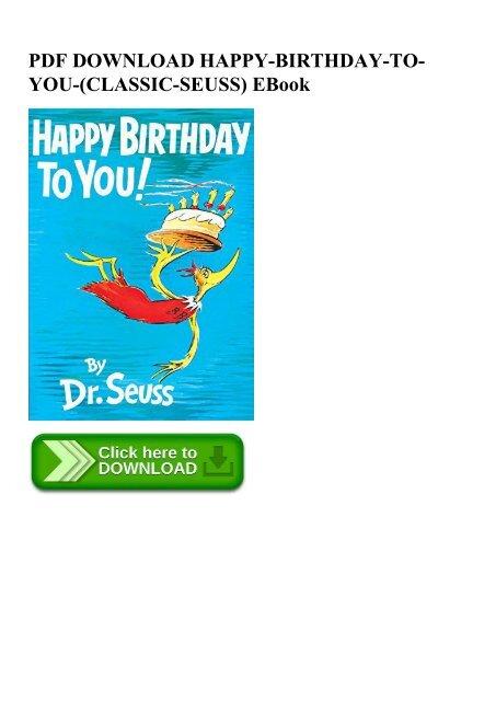 Pdf Download Happy Birthday To You Classic Seuss Ebook