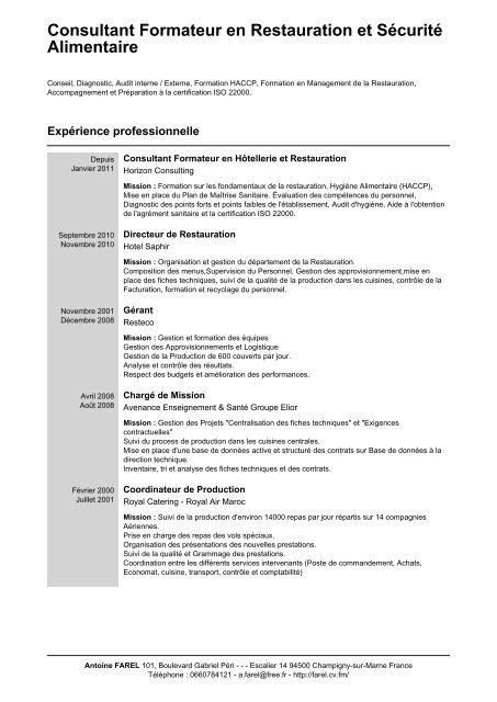 Consultant Formateur En Restauration Et Securite Alimentaire Cv