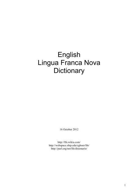 English Lingua Franca Nova Dictionary
