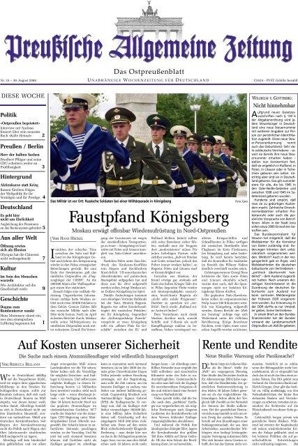 Folge 35 Vom 30 08 2008 Archiv Preussische Allgemeine Zeitung