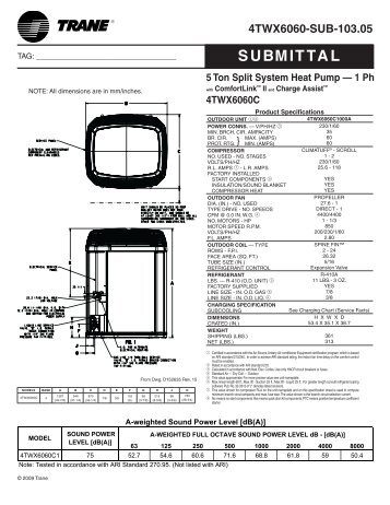 trane submittal 5 ton split system heat pump 1 phase with trane heat pump wiring diagram & carrier rooftop units wiring trane ycd060 wiring diagram at eliteediting.co