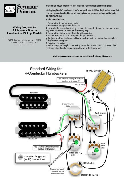 wiring instructions  seymour duncan