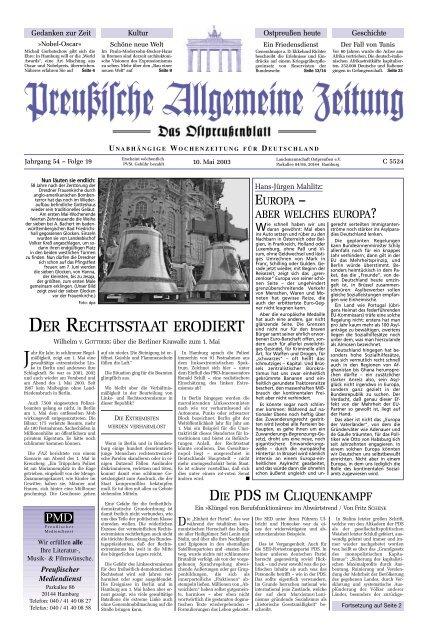 Folge 19 Vom 10 05 2003 Archiv Preussische Allgemeine Zeitung
