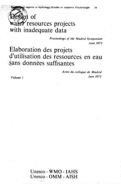 design of water resources projects with