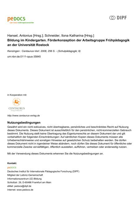 Bildung Im Kindergarten Forderkonzeption Der Pedocs