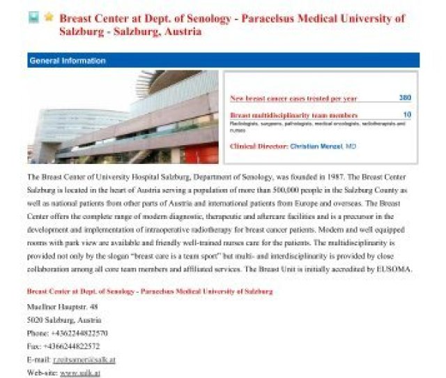 Breast Center At Dept Of Senology Breast Centres Network