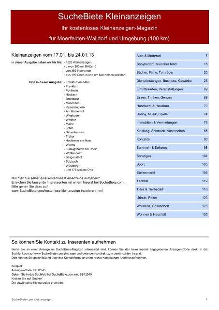 Suchebiete Kleinanzeigen Magazin Morfelden Walldorf
