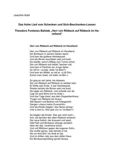 Herr Von Ribbeck Auf Ribbeck Im Havelland Gedicht Herr Von