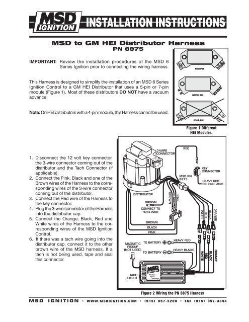 msd chevy hei distributor wiring diagram  top wiring