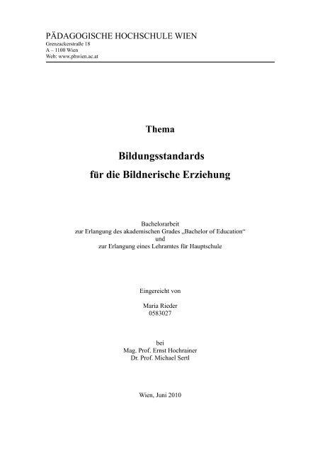 Thema Bildungsstandards Fur Die Bildnerische Erziehung Mozarteum