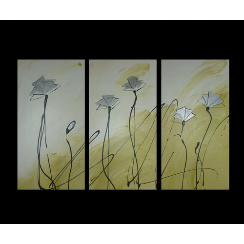 3 Piece Abstract Poppies Canvas Painting In Lime Green And