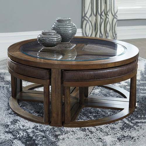 5 piece hannah faux leather coffee table stools set