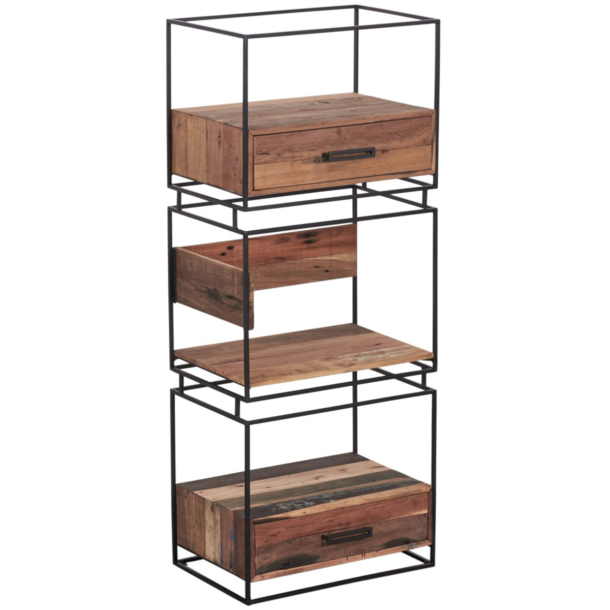 Nako Reclaimed Wood Bookcase With Storage