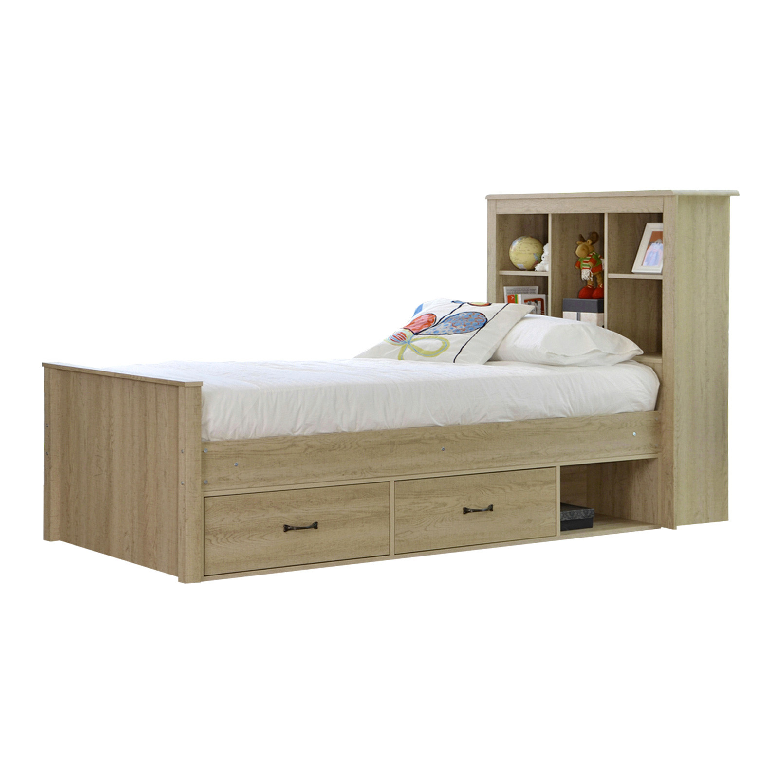 Details About New Jeppe Oak King Single Bed With Bookshelves Drawers Vic Furniture Beds