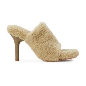 Fake shearling high-heeled mules