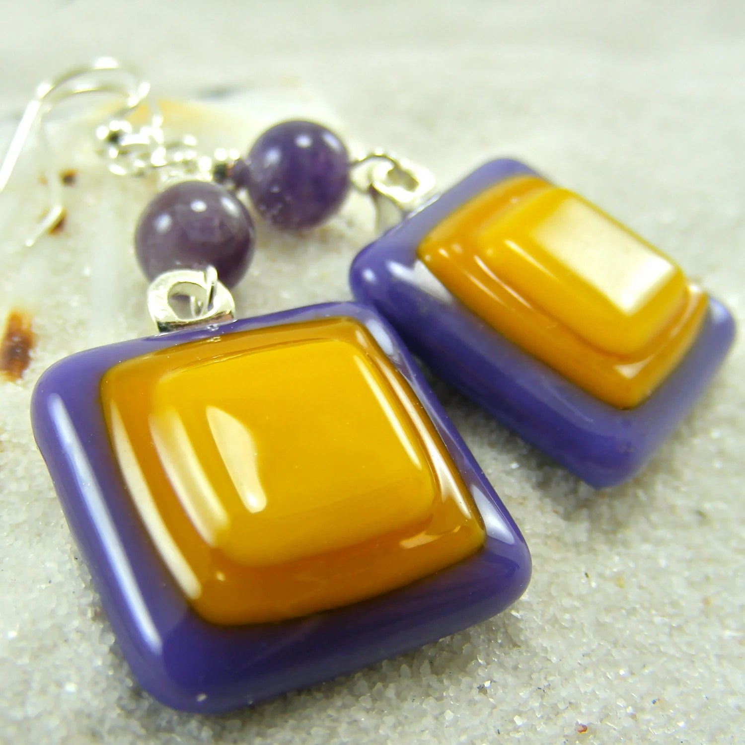 Posey Pop Fused Glass Earrings