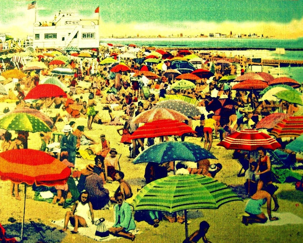beach umbrellas photograph  STRIPED BEACH 8x10 photo decor 1930s art deco vintage red aqua yellow coastal