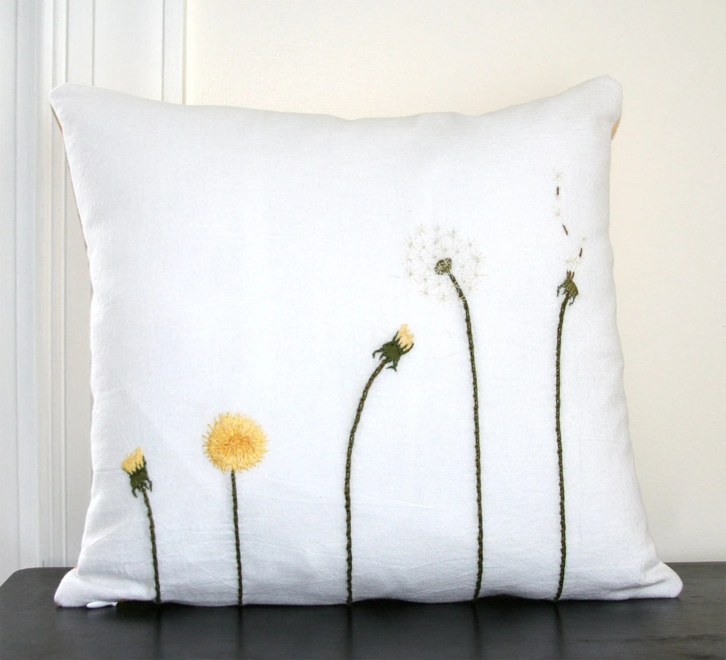Dandelion Life Cycle Pillow Cover Hand Embroidered