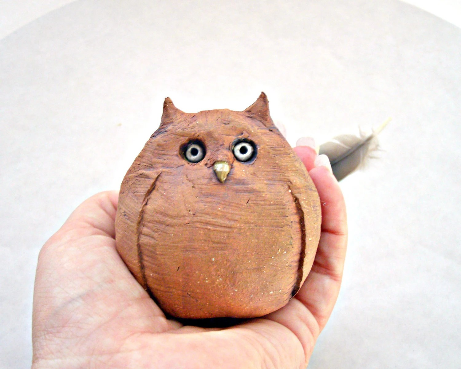 Rustic Minimalist Woodland Owl Stoneware Sculpture, Made to Order - StudioByTheForest