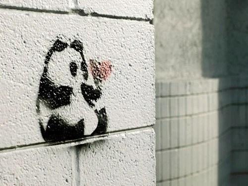 Panda Danda - Graffiti Love Panda Heart Fine Art Photograph by Patrick Andrew Adams - APTRICK