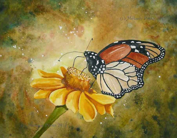 RESERVED For Em Butterfly Original Flower Floral Watercolor