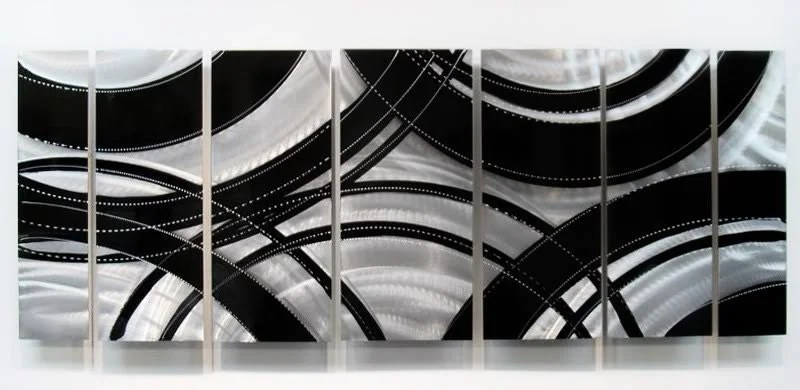 Large Black/Silver Modern Metal Wall Art Contemporary Metal