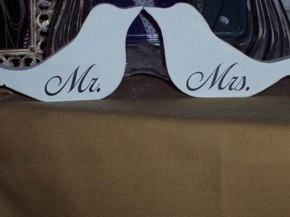 Mr. And Mrs. Wedding Love Birds Wood Vinyl Sign Wedding