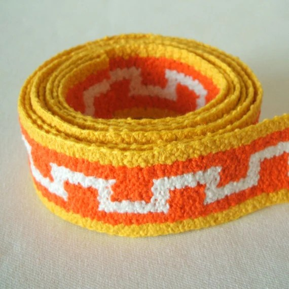 "vintage woven trim in pumpkin and lemon 1 3/8"" wide 2 yards"