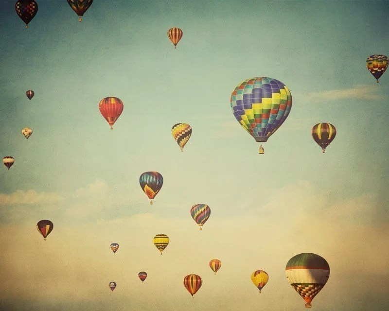25% OFF Hot air balloons photograph, Adventure, Flight - Do you realize that we are floating in space - Nursery art