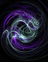 Digital Painting: Light Within - Violet & Indigo Swirls - Matted 5x7 Fine Art Print - DianeClancy