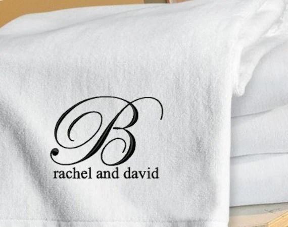 Set Of 2 Monogrammed Beach Towels Honeymoon / Wedding Gift
