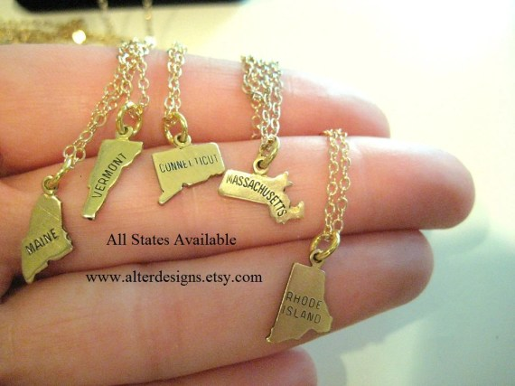 Charm Necklaces, Two State Charms, Great gift for best friends, faraway friends, or moving away gift