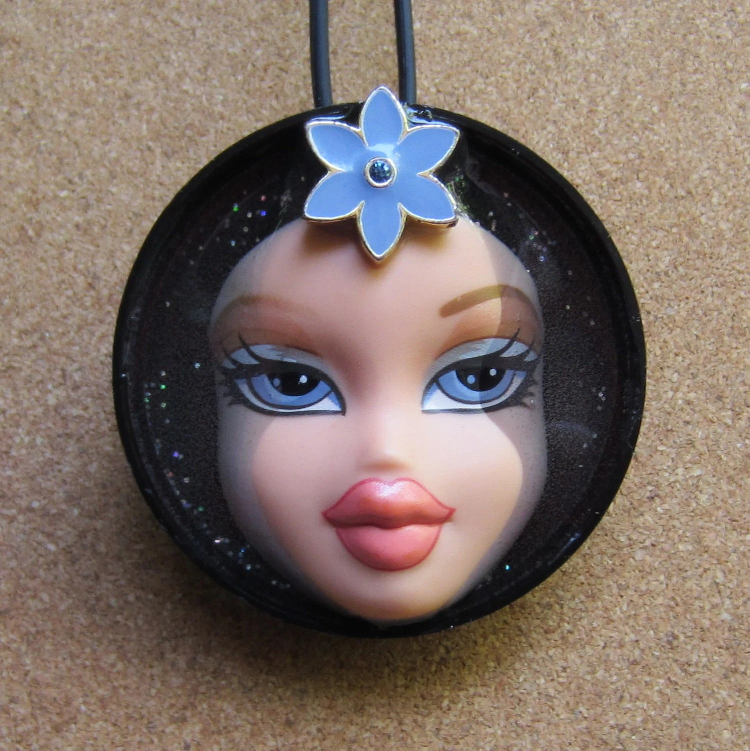 Going Solo - Bratz Upcycled Doll Face Pendant