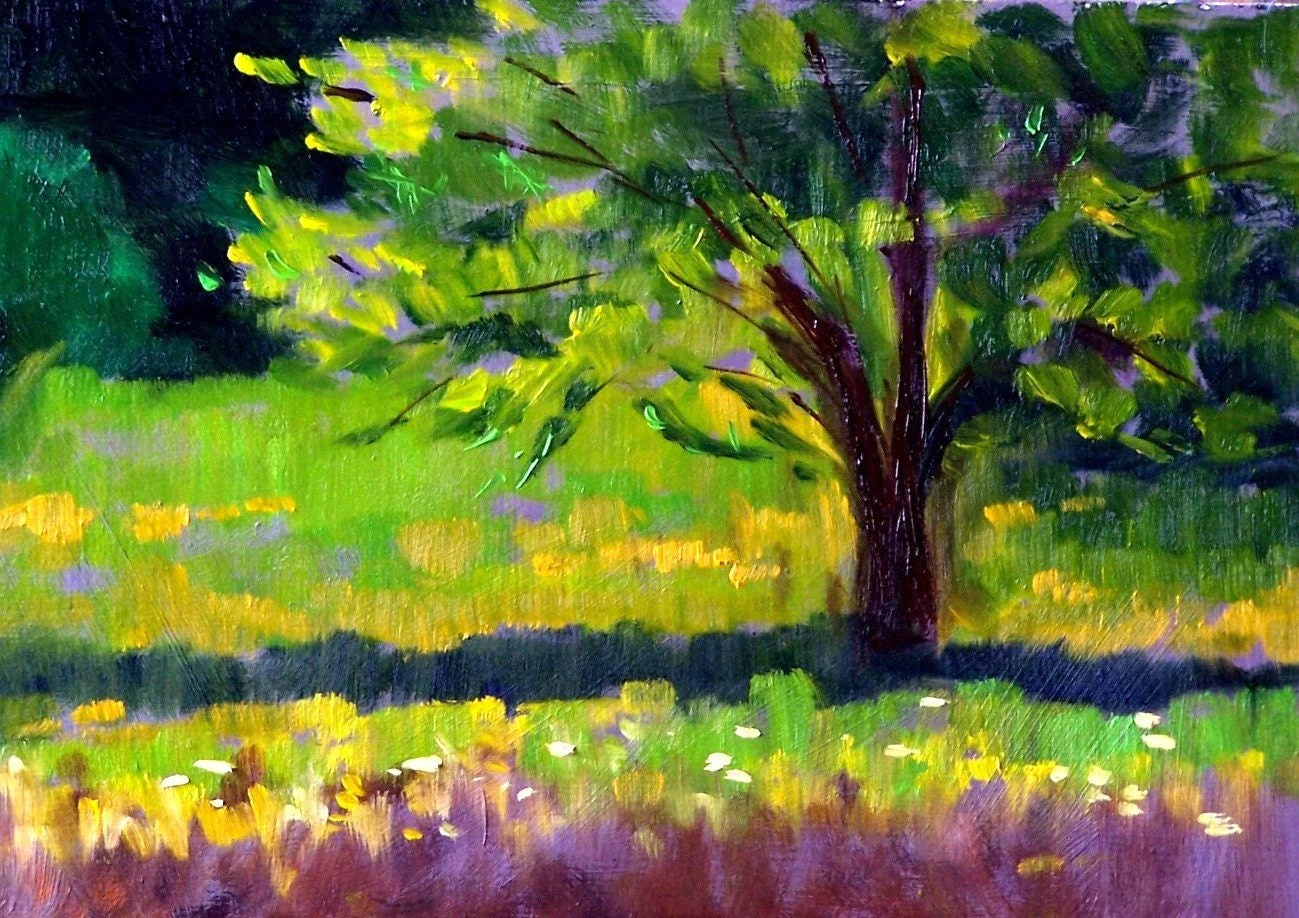 Original Landscape Oil Painting Summer Tree By