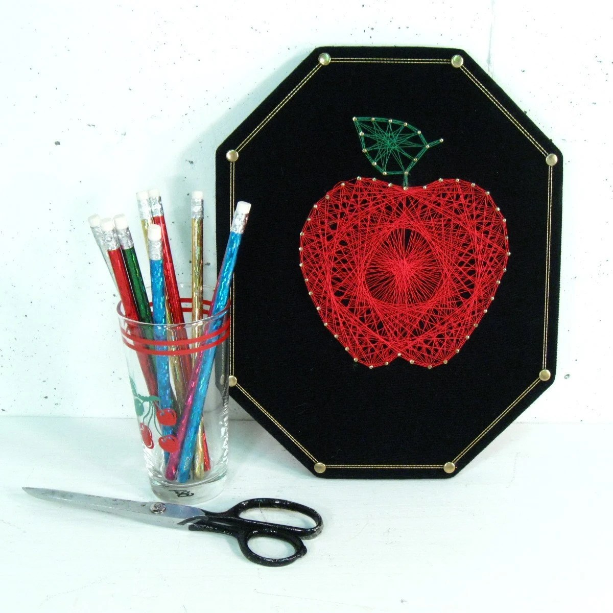 Vintage String Art Red Apple Arts And Crafts Project